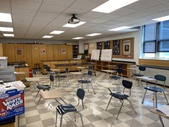 Classroom set up with desks