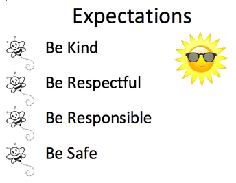 Expectations: be kind, respectful, responsible & safe with sun and sunglasses on & small bees