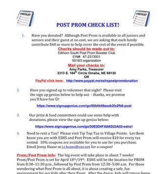 Post Prom Newsletter