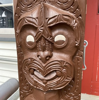 Newly painted carvings