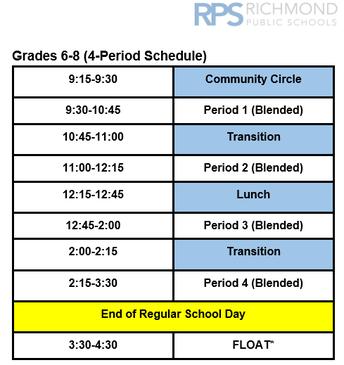 Revised Schedule (Effective October 20, 2020)