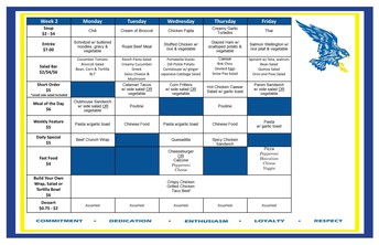 Cafeteria Menu March 15-19