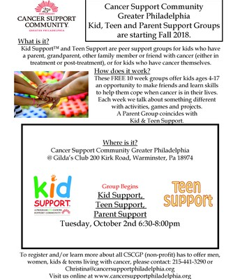 Cancer Support Community Kids, Teens & Parents