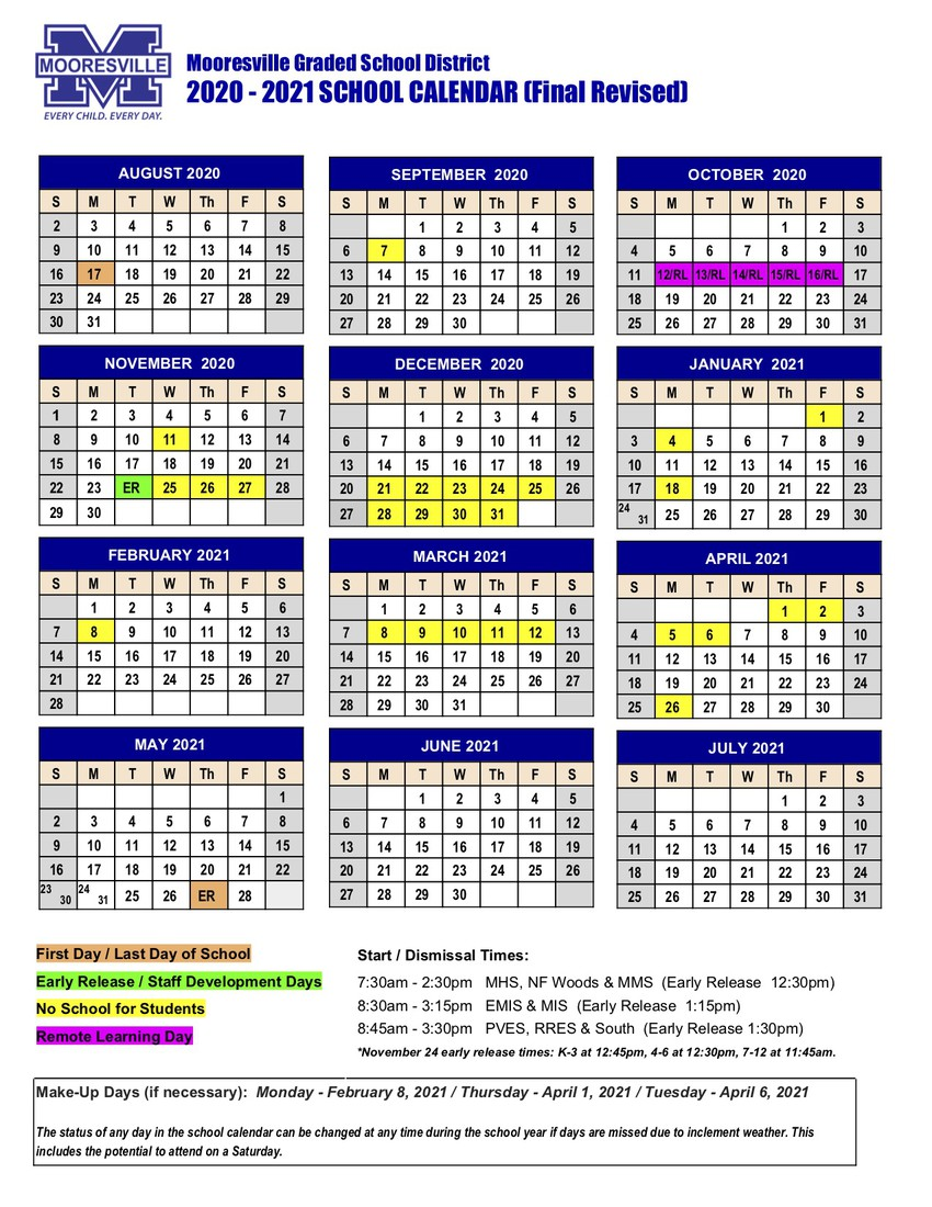 MGSD 2020 - 2021 School Year Calendar