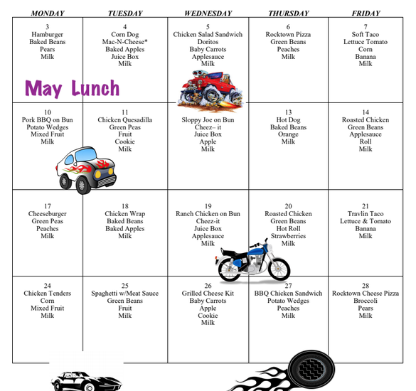 Picture of May Lunch Menu