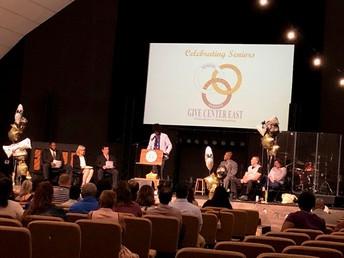 Nathan Morris delivers inspiring words at the Senior Celebration.