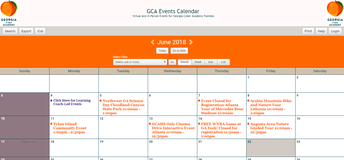 GCA Events Calendar for Enrolled Families