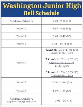 2021-2022 Bell Schedules