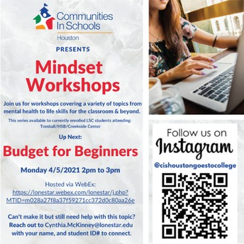 Communities in Schools: Budget for Beginners Workshop- Monday, April 5th @2 PM