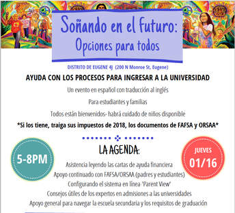 Soñando en el Futuro - Ayuda con los procesos para ingresar a la universidad & fuentes de apoyo financiero