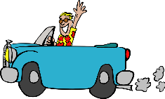 Graphic of boy in convertible, waving