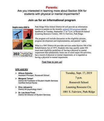 Parents:  Are you interested in learning more about Section 504 for students with physical or mental impairments?