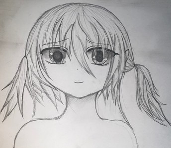 Black & white pencil drawing of a girl in manga style