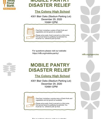 Mobile Food Pantry Coming to TCHS