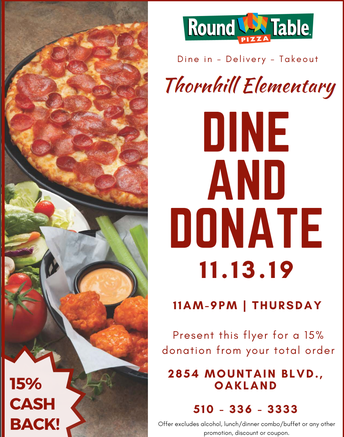 Dine Out: Wednesday, November 13 at Round Table Pizza