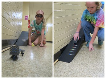 Fourth graders built carts and collected data to compare rolling resistance and distance.