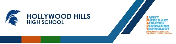 A graphic banner that shows Hollywood Hills High school's name and SMART logo