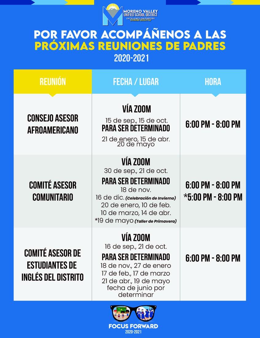 meetings schedule Spanish