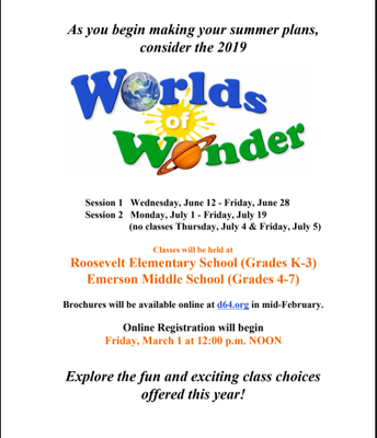 Worlds of Wonder Program (grades K-7)