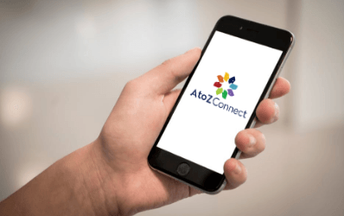 AtoZ Connect mobile app on phone