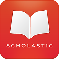 white open book and the words scholastic in a red square