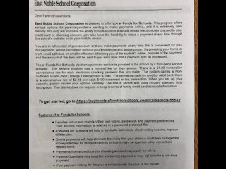 Food Service letter to parents regarding our change to e~Fund