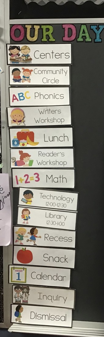 Sample Schedule from one of our Kindergarten classes