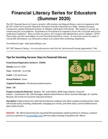 Financial Literacy for Educators Series--Begins June 23!