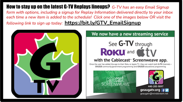 G-TV logo and additional graphic with streaming information - the hyperlink here takes you to the G-TV Email Signup page.
