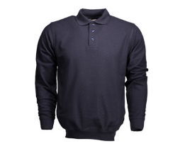 Dark Navy Banded Bottom Polo with Logo- Long Sleeve