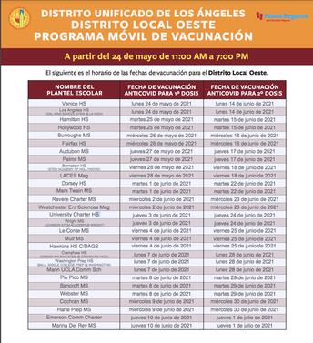 Programa Movil de Vacunación (En Español)