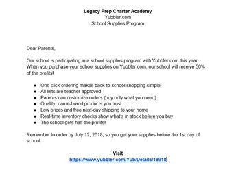 Yubbler Pre-Packaged School Supplies