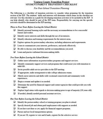 Student/Parent Transition Checklist