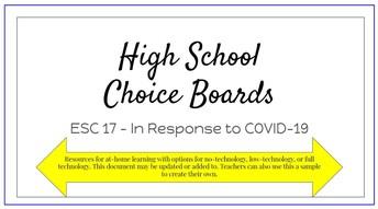 High School Math Choice Boards