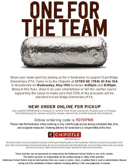 Chipotle fundraise, 5/19 4-8 pm