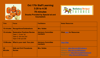 Staff Learning - Wednesday, October 17th