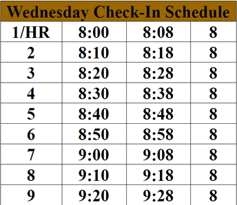 Wednesday Check-In Schedule
