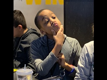 """Isaiah with his """"thinker"""" pose"""