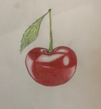 Pencil drawing of a red cherry with stem