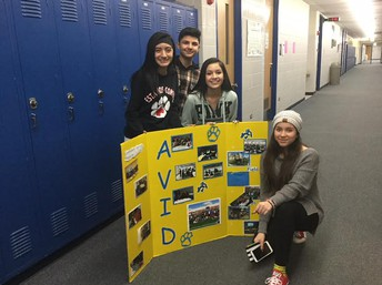 AVID students helping out at parent night