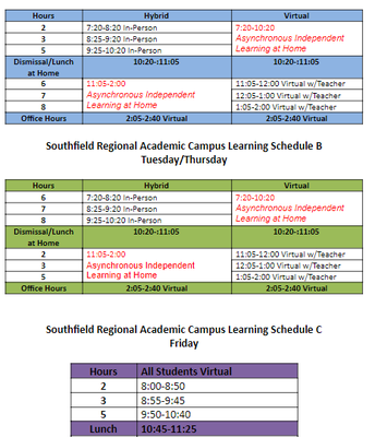 Return to Learn Schedule