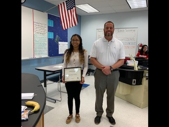 10th Grade student of the month Daisy Beristain-Baltaza