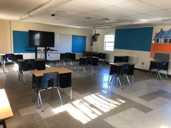 Classroom with desks 6 feet apart