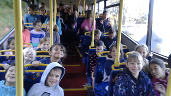 Excited faces on the way to Gymsport