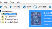 "Click on the audiobook, then click the ""Transfer"" button."