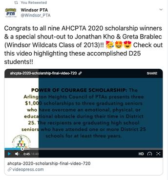 AHCPTA 2020 Scholarship Winners