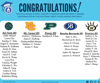 41 PUSD Students Named National Merit Scholarship Finalists