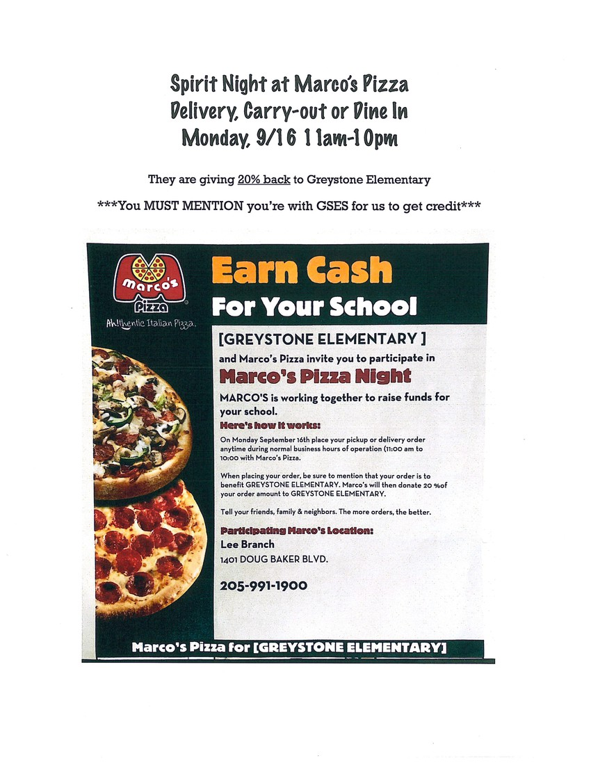 Marco's Pizza Spirit Night Monday, September 16 from 11 am to 10 pm.  Tell them you are from GSES.