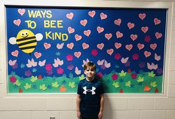 The hearts are suggestions from Madonna students on ways they can be kind.