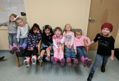 Showing off Rain Boots from the Pumpkin Patch!